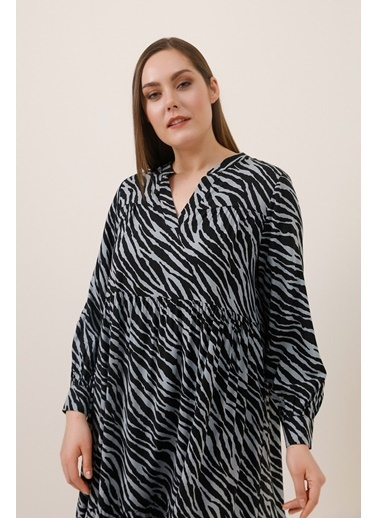 Gusto Zebra Desen Gömlek Elbise - Siyah Zebra Desen Gömlek Elbise - Siyah Siyah